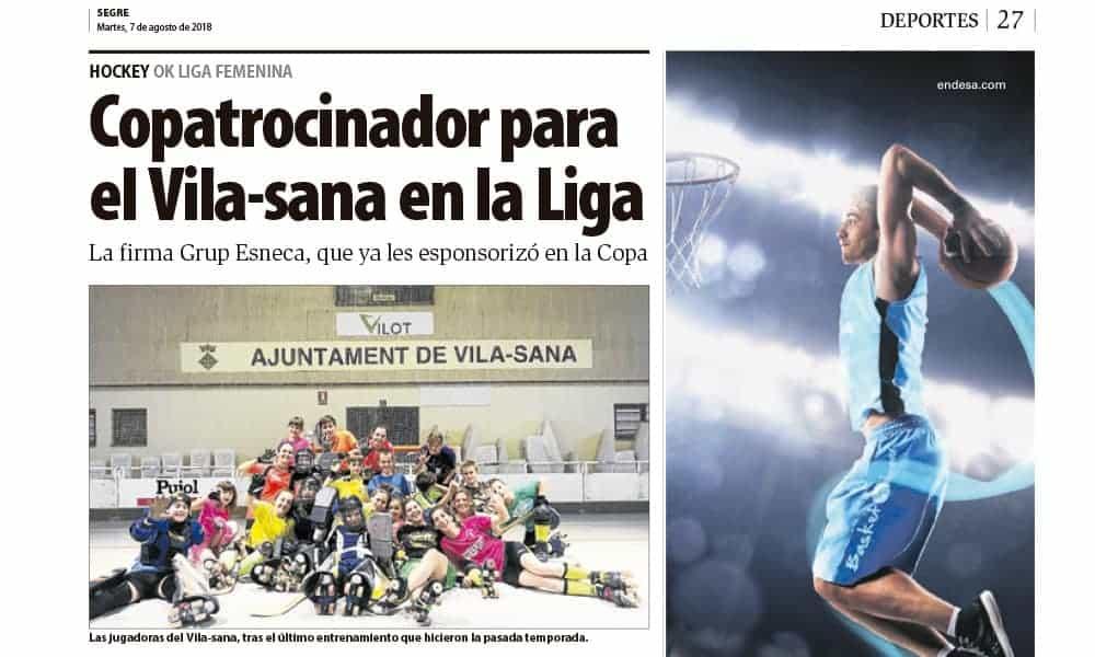 Grupo Esneca copatrocinador de hockey femenino del equipo Vila-sana