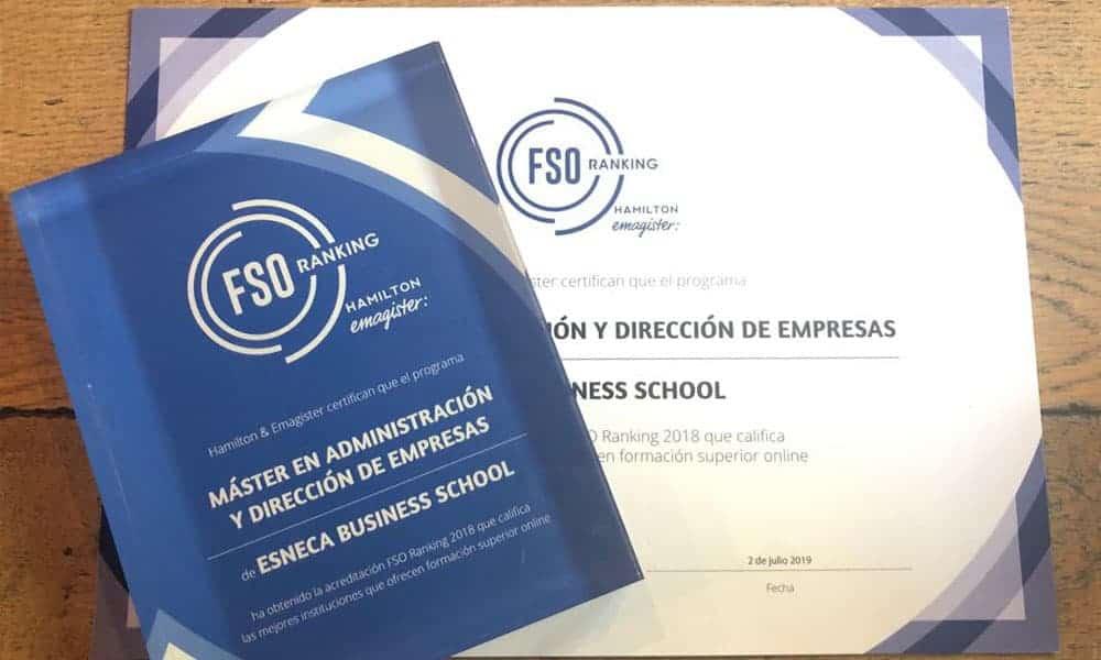 Esneca Business School, galardonada con el Premio FSO Ranking 2018